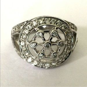 Mandala Round Sterling Silver 925 CZ Round Ring 7